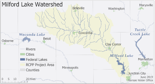 Map of the Milford Lake Watershed RCPP Project